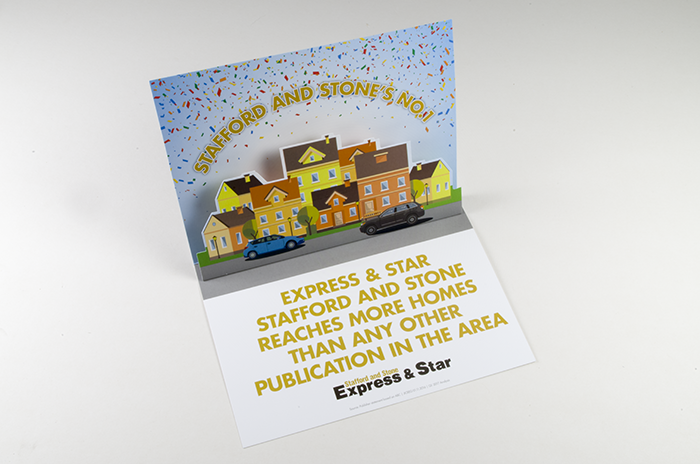 promotional greeting card with 3D pop up action