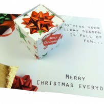 Box Clever with a Pop up Cube Pop up Card for Corporate Christmas Greetings