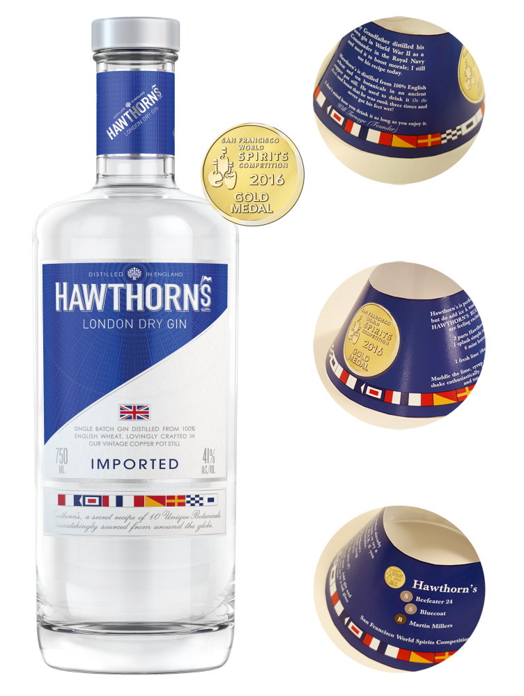 Point of sale promotion on a bottle for Hawthorn's Gin