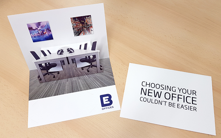 Pop up card direct mail campaign for BE Offices